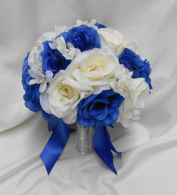 Wedding Bridal Bouquet Your Colors 2 Pieces Ivory Royal Blue