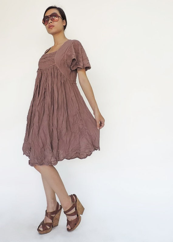 NO.9 Dusty Pink Cotton Bell Sleeves Tunic Dress, Day Dress