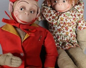 Monkey Doll . Bell Boy . His Her Pair . Couple Set