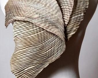 Pleated Silk Scarf Gray Wrap Arashi Shibori Silk Scarf Hand Dyed