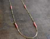 Long pink coral necklace for women with gold plated chain