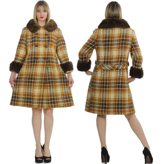 manteau en laine Vintage manteau u00e0 carreaux des annu00e9es 70 Boho ...