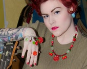 Cheeky Cherry scarlet rose and cherry necklace- Pin-up Collection