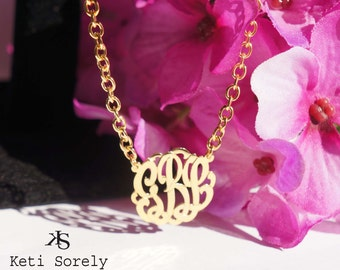 Handmade Monogram Initials Necklace With Large Link Chain (Order Any Initials) - 24K Gold overlay