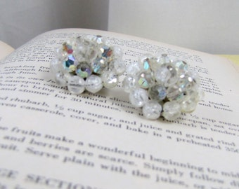 Vintage Lucite Beaded Clip-on Earrings  | 1950s