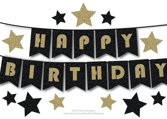 happy birthday bunting banner printable decoration black and. Black Bedroom Furniture Sets. Home Design Ideas
