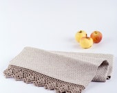 Linen Bath Towel with lace edging - UniqueLinen