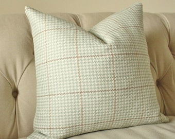 """SALE 25.00 18"""" or 20"""" - Mineral Green Houndstooth Plaid Pillow Cover - Light Green - Mineral Green Beige Taupe Ivory Pillow Throw Pillow"""