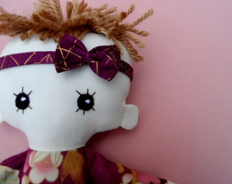 Cloth doll - baby girl- cotton ragdoll - Japanese print- pretty bow- spiked hair