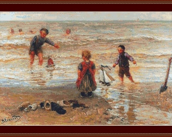 Children On The Beach Cross Stitch Pattern