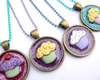 Cupcake Pendant Charm Glittery Necklace-Choose one