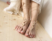 Tan beaded barefoot sandles Dance beach footless sandals Beige nude shoes Hippie yoga anklet jewelry Bohemian feet decor