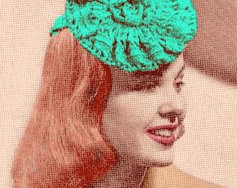 Almost FREE Vintage 1940s Flower Fascinator Hat 683 PDF Digital Crochet Pattern