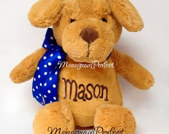 Personalized, Monogrammed Stuffed Puppy Dog