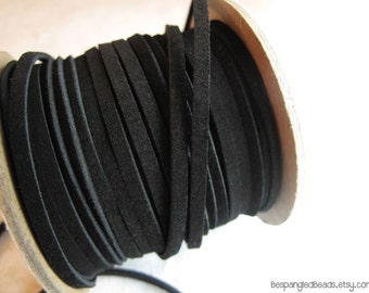 3mm Flat Black Suede Leather Cord 1/8th inch (2 YARDS) - great for necklaces and bracelets