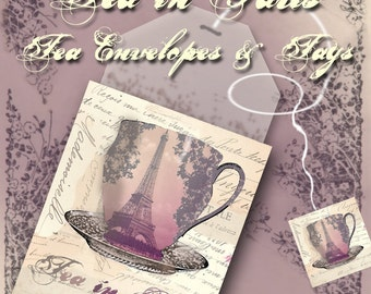 Tea Bag Envelopes & Tags - Tea in Paris - Printable - Instant Download