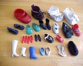 Vintage Doll Shoe Collection - Doll Shoes  - Doll Boots - Tiny Footwear - Shabby Plastic repair or repurpose  -  Doll Parts and Accessories