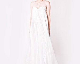 Silk Boho Wedding Dress UK Size 6-8