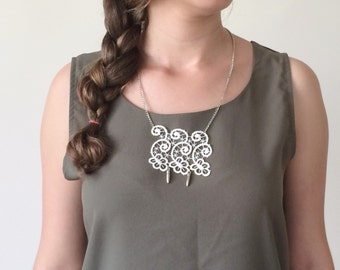 Lace Necklace, Chain Statement Necklace, Bohemian Lace Pendant, White Lace Bib Necklace, Statement Collar, Lace Jewelry, Women's Gift