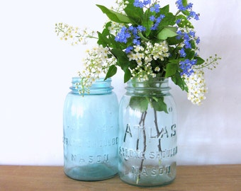 Antique Blue Mason Jar, Blue Atlas Strong Shoulder, Blue Atlas Mason Jar, Quart Size, Blue Canning Jar, Blue Mason Jar