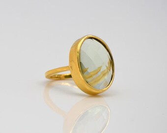 Large Green Amethyst ring, Vermeil Gold ring, oval ring, large gemstone ring, bezel set ring, February Birthstone ring, statement ring