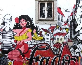 Lisbon, Portugal. Street Art. Alfama District. Graffiti Fado Vadio Photo Print. Photography. Window. Dancer. Red Yellow. Travel Photo