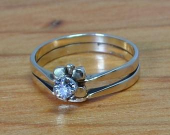 Vintage Shamrock Diamond Engagement Ring, Yellow 14K Gold, Flower with Leaves, Unique Wedding Set, size 7 Celtic?