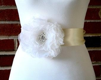 Pure Silk Flower Wedding Sash.  Bridal Applique for Dress.