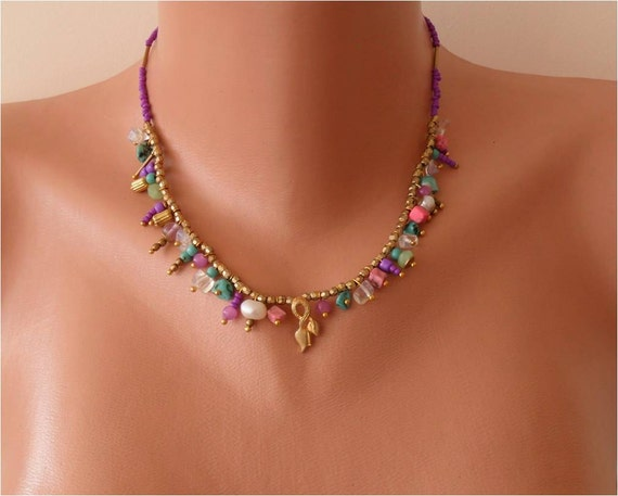 Mother's Day Gift - Unique Necklace - Glass Beads and Goldplated Items