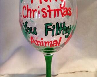 Christmas Glass, Merry Christmas You Filthy Animal, Hand Painted, Holiday Glass, Christmas Glass