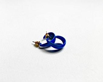 Bright Electric Blue Plastic Scoop Earrings-Vintage 70s
