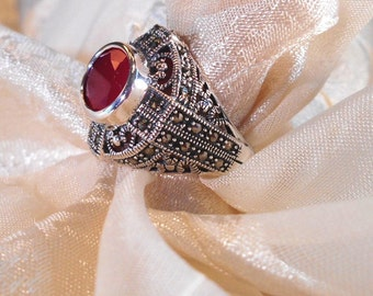 Scarlet Chalcedony Statement Ring Art Deco Sterling & Marcasite East-West Setting