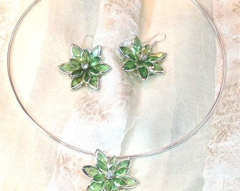 Green Crystal Necklace & Earrings Handmade Choker Set by NorthCoastCottage Jewelry Design