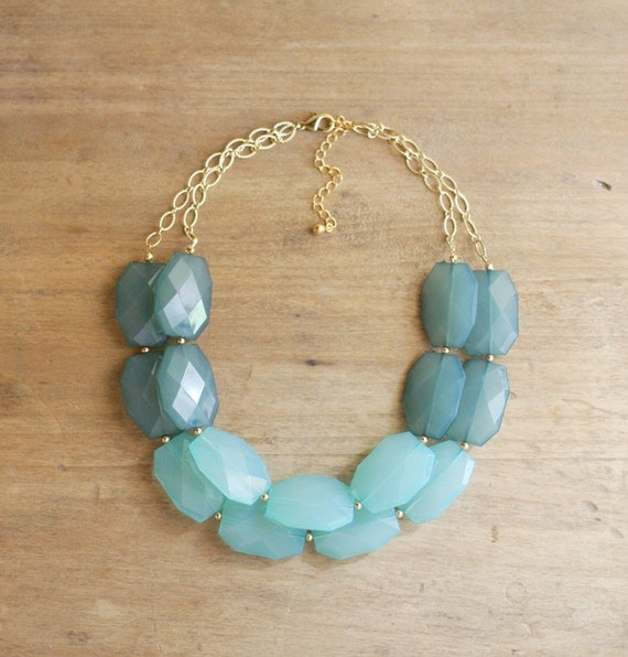 Ocean Blue and Aqua Statement Necklace, Aqua Bib Necklace, Turquoise Statement Necklace, Double Strand, Chunky Beaded Necklace