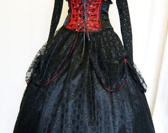 Waspie skirt red & black satin with black lace ruched skirt with red bows steampunk burlesque style