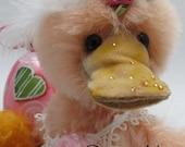 Warm Heart Bears ~ Daisie Mae ~ OOAK Mohair Duck by Artist Carolyn Robbins
