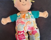 Reversible Overalls in Flannel Forest Friends and Moss Pindot for Baby Stella, Waldorf and 13, 14, 15, 16 Inch Dolls, Doll Clothes