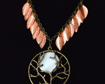 Harvest Moon Necklace in Antique Brass, Bright Copper & Shell