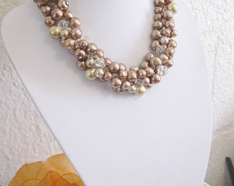Bridesmaid Jewelry, Statement Pearl Necklace, Shades of Brown, Beige, Champagne, Neutrals, Chunky Cluster Necklace, Bridesmaid Necklace