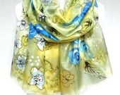 Roses Scarf. Authentic Silk Art. Yellow Blue Hand Painted Silk Shawl. Silk Painting. Wedding Gift. Butterflies Scarf. 18x71in MADE to ORDER