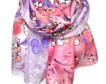Hand Painted Scarf. Pink Silk Scarf. Almond Tree Scarf. Anniversary Birthday Gift for Her. Genuine Silk Art. 18x71in (45x180cm) Ready2Ship