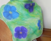 Hand Painted Square Silk Scarf, Blue and Purple Flowers on a Green Field, Ready to Ship - RosyDaysScarves