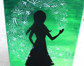 Princess Anna silhouette // Frozen painting // 11x14 inch canvas // READY TO SHIP