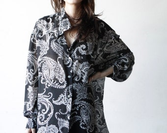 90s paisley baroque VERSACE style FLOWING button down shirt