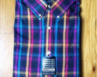 vintage members only plaid shirt mens size large tall