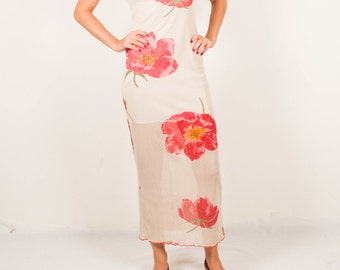 Vintage beige red maxi dress slim fit red puppy women's size small