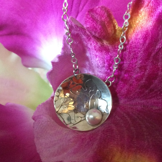 Lily and Pearl Etched Domed Pendant