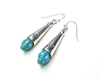 Sugar skull jewelry - blue sugar skull earrings - dangly skull earrings with silver - Halloween earrings by Sparkle City Jewelry