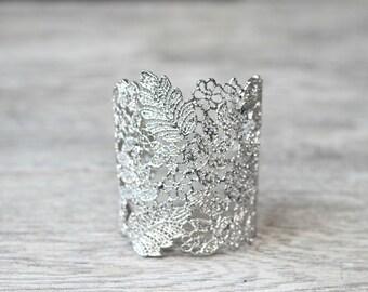Lace Bridal Cuff Bracelet, Silver Lace Floral Bridal Cuff Bracelet, Silver Filigree Cuff Bracelet