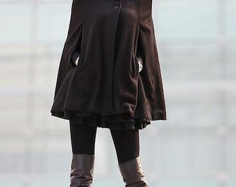 Black Cape Wool Cape Cloak Shawl Wool coat breasted button coat winter coat cloak Cape Spring Jacket-CF118